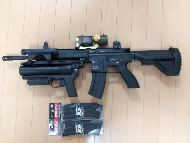 HK416D画像 416用に買っておいたグレネードと家に余ってたサイトを取り付けて見まし...