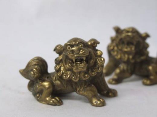 勝徳卸売★銅器銅製真鍮製獅子一対置物 魔除け/シーサー唐獅子 勝徳卸売★銅器銅製真鍮製獅子一対置